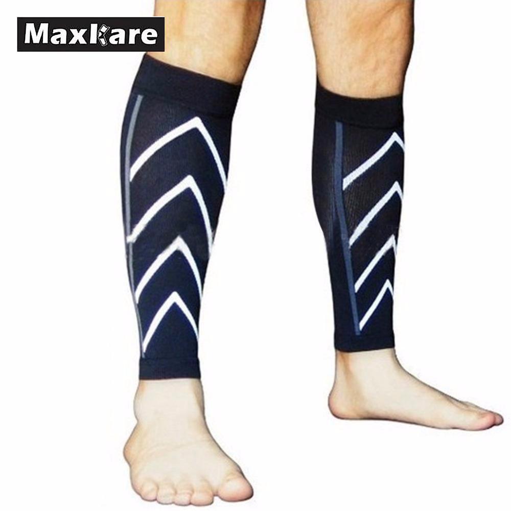 Maxkare 1Pair Calf Support Compression Leg Sleeve Running Sports Socks Shin Splint Outdoor Exercise Brace Wrap ombre circle calf length socks