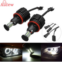 2Pcs  H8 LED Angle Eyes Headlight 6000K 120W White Angle Eyes Halo Bulb  For BMW E90 E92 E82 E60 E70