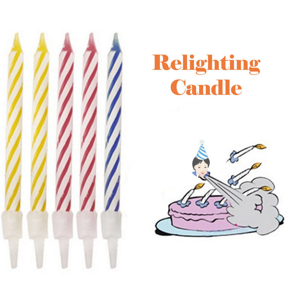 10 Pcs Lot Magic Relighting Candles Funny Trick Birthday Eternal Blowing Candle Naughty Party Joke Gift Kids Cake Decor
