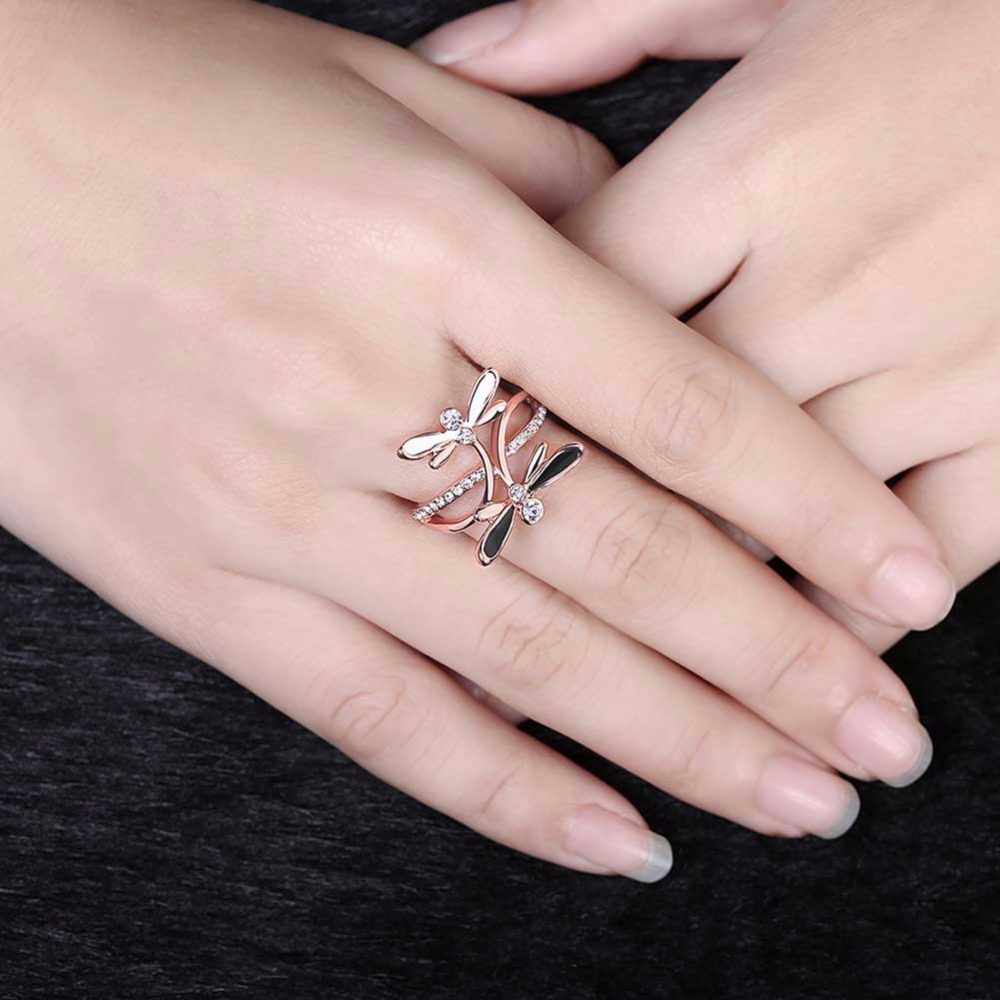 Butterfly Double Fly Set Stone Ring Rose Gold Animal Ring Free ...