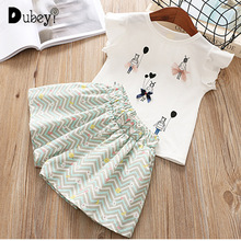 New Summer Little Girl Boutique Outfit Cartoon Girls Ruffle Outfits Toddler Clothes for Holiday Casual