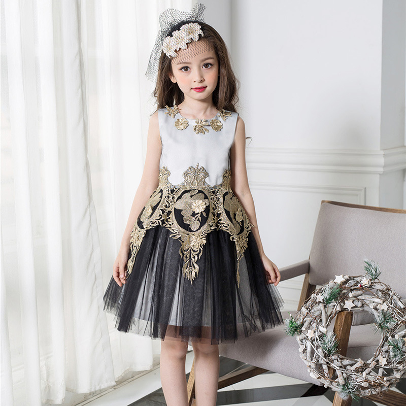 Girls Dresses Summer Children TUTU Dress Retro Lace Princess Costume Bronzing Flowers Kids Dresses for Girls Clothes 3-9 Years girls lace dress 2016 summer girls dresses kids clothes e mbroidery princess dress girls costume children dress