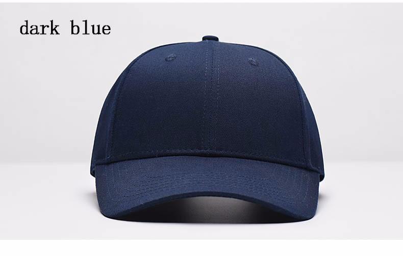 Solid Color Adjustable Baseball Cap - Dark Blue Cap Front Angle View