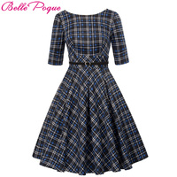 Vintage Plaid Dresses 50s 60s Women Summer Autumn Retro Clothing 2018 Cotton Party Robe Rockabilly Feminine