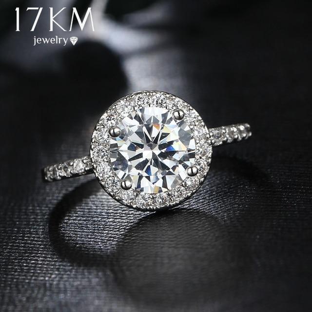 17KM Big Round Cubic Zirconia Rings Fashion Wedding Jewelry Female Engagement Ri