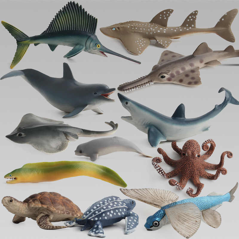 Marine organism animals models figurines toys Simulation Sea Dogs turtle Skate Dolphin Octopus Flying fish Toy Gift For Children