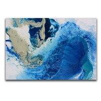 Dekoration Wandkunst Handgemaltes Modernes Abstraktes Ölgemälde Blauen Ozean Wellen Kunstwerk auf Leinwand Für Wohnzimmer