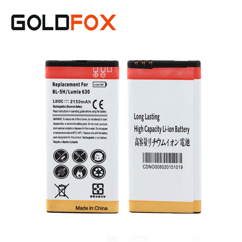 Quality 1pc 2150mAh BL-5H BL5H Replacement Commercial Li ion Battery For Nokia Lumia 630 638 636 635 Mobile Phone Batteria