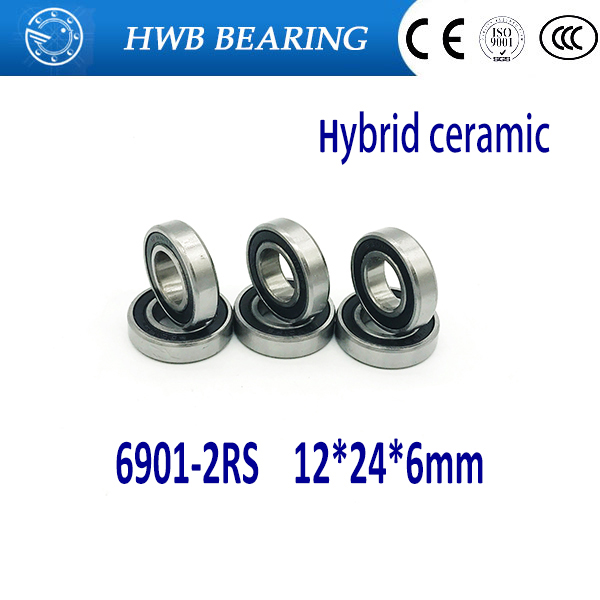 Free Shipping 1PCS 6901-2RS hybrid ceramic si3n4 ball  61901 ceramic bearing 12*24*6mm  6901 2RS free shipping 6901 61901 zro2 full ceramic bearing ball bearing 12 24 6mm