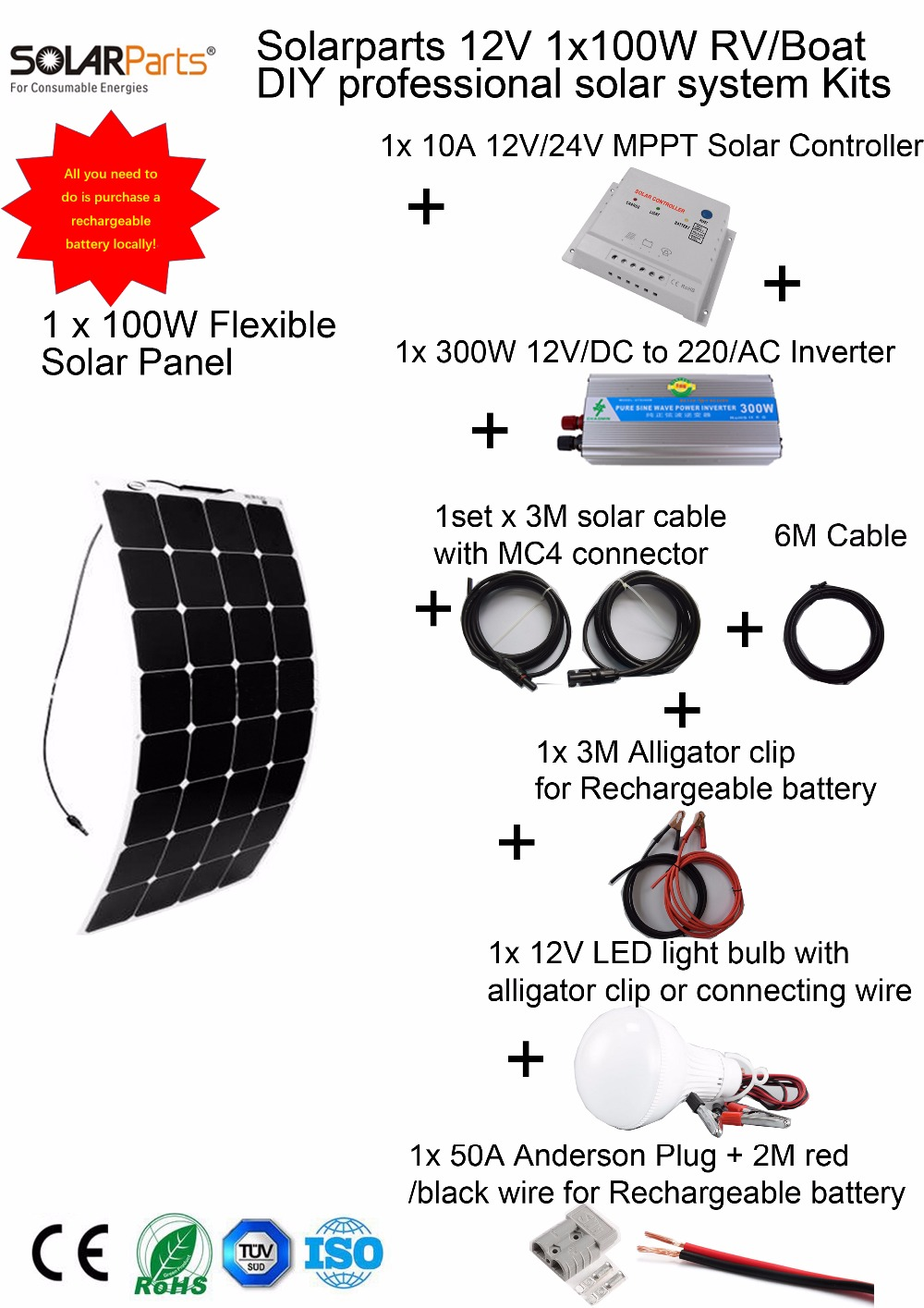 Solarparts 1x100W Professional DIY RV/Boat/Marine Kits Solar Home System 100W flexible solar panel MPPT controller Inverter LED. solarparts 100w diy rv marine kits solar system1x100w flexible solar panel 12v 1 x10a 12v 24v solar controller set cables cheap