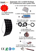 Solarparts 1x100W Professional DIY RV/Boat/Marine Kits Solar Home System 100W flexible solar panel MPPT controller Inverter LED.