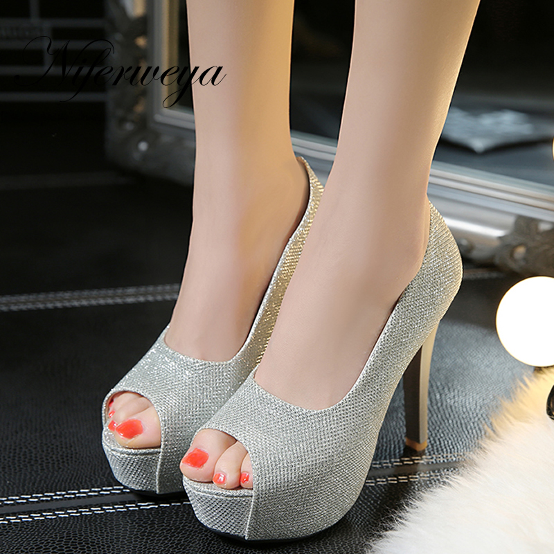 Sexy thin heel Women wedding shoes Big size 32-45 Spring/Autumn Peep Toe Slip-On Ultra high with 12 cm high heels zapatos mujer womens shoes high heel woman pumps spring autumn basic silk slip on pointed toe thin heels sexy wedding shoes ljx04 q