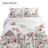 3D Bedding Set Super King/Queen/Double Size,Custom Printing Quilt/Duvet Cover Set,2/3pcs Butterfly in Flowers Bed Set,Drop Ship