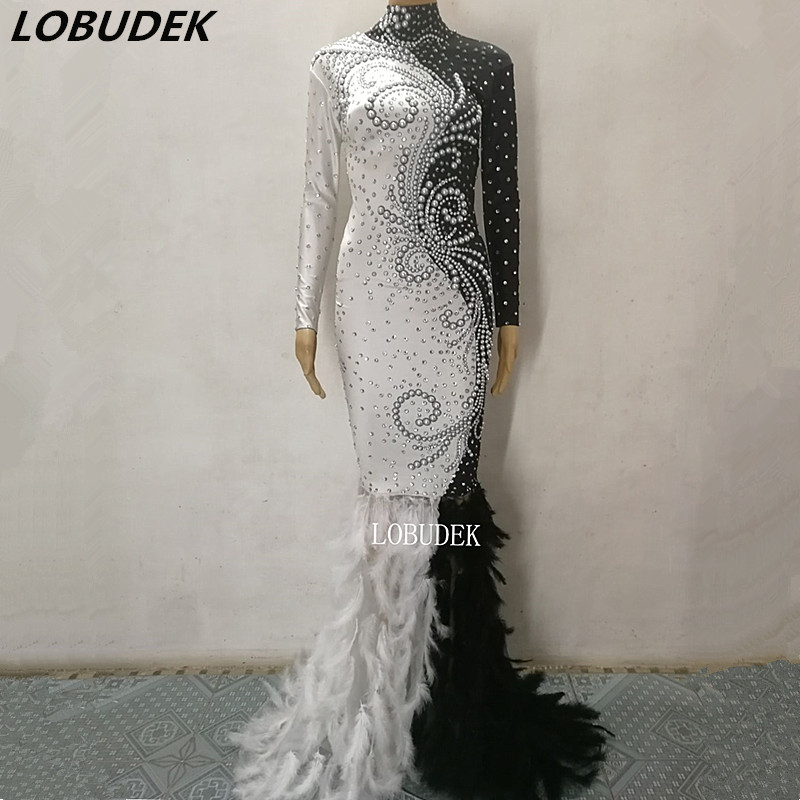 Female Black White Feathers Long Dress Sparkly Pearls Rhinestones Trailing Dress Prom Party Costume Singer Star