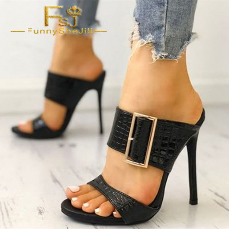 Women's Shoes Black Croco Heels Open Toe Buckle Stiletto Heels Sandals Summer Anniversary Incomparable Generous Attractive Fashion Noble Fsj