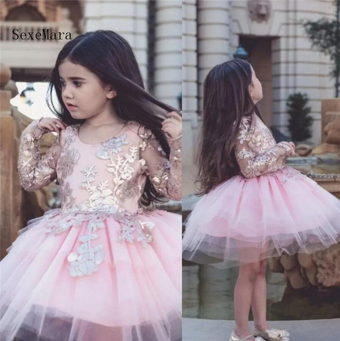 Dollcake Appliqued Flower Girl Dresses Long Sleeves Special Occasion For Weddings Kids Pageant Gowns Knee Length Party GownDollcake Appliqued Flower Girl Dresses Long Sleeves Special Occasion For Weddings Kids Pageant Gowns Knee Length Party Gown