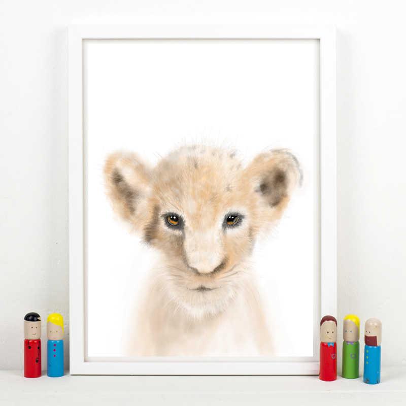 Akwarela zwierzęta dla dzieci płótno wydruki artystyczne i plakat, lew słoń żyrafa małpa płótno malarstwo zdjęcia przedszkole dekoracje ścienne