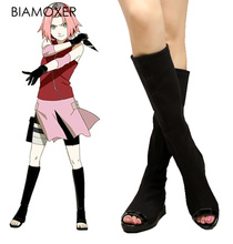 Biamoxer chaussures Cosplay Anime Haruno Sakura, Naruto Shippuden, bottes Ninja noires