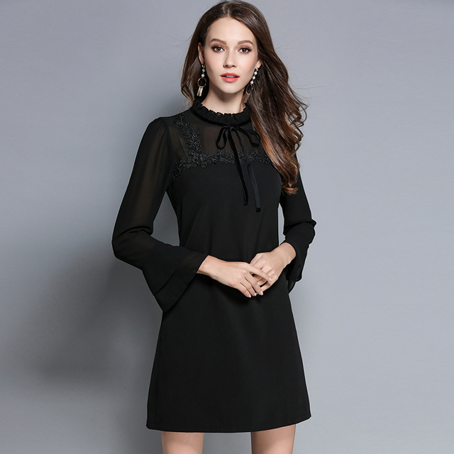 US $33.62 |2017 New Autumn Women\'s Elegant Plus Size Dresses Tie Bow Lace  For Ladies Black A Line Dress Long Sleeves Woman Clothing M 5XL-in Dresses  ...