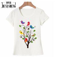 2017 Plus Size Animal Bird Print Women T Shirt Summer Cute Funny T Shirt Short Sleeve
