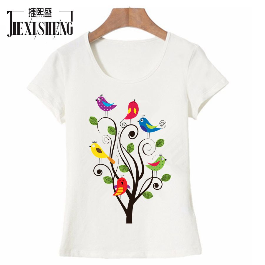 Animal bird print women t shirt summer cute funny t shirt for Cute summer t shirts