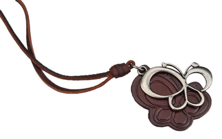 2018 Baru Vintage Logam Butterfly Liontin Kalung Punk Vintage Adjustable Brown Kulit Asli Kalung Perhiasan Hadiah