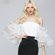 womens ruffled sleeve tops Sexy Off Shoulder Ruffles Tops Patchwork Female Sexy Transparent Blouses Lady Solid Blusa Feminino