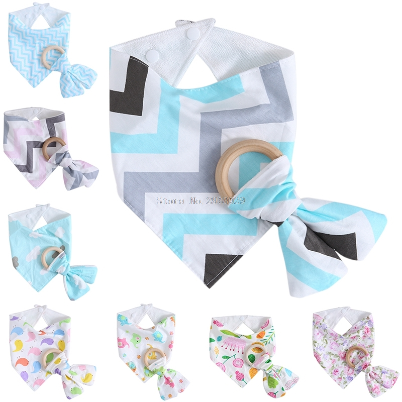 1Set Infant Kids Baby Feeding Saliva Towel Dribble Triangle Bandana Bibs Teether Ring  -B116