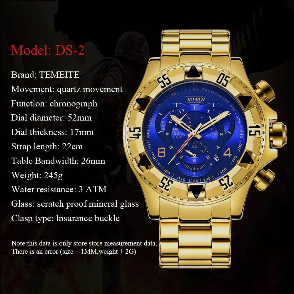 19 Top Brand Luxury Mens Oversize Watch Gold Business Steel Quartz Clock Waterproof Sport Military Chronograph Male Wristwatch 12