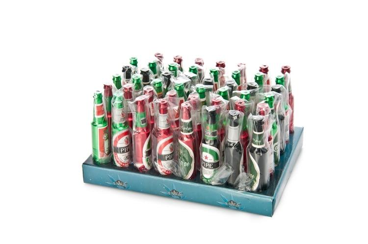 48 PCS/Lot Mini bouteille de bière tuyau mélange de couleurs métal fumer tuyaux Portable en aluminium tabac herbe tuyau en gros avec une boîte d'affichage