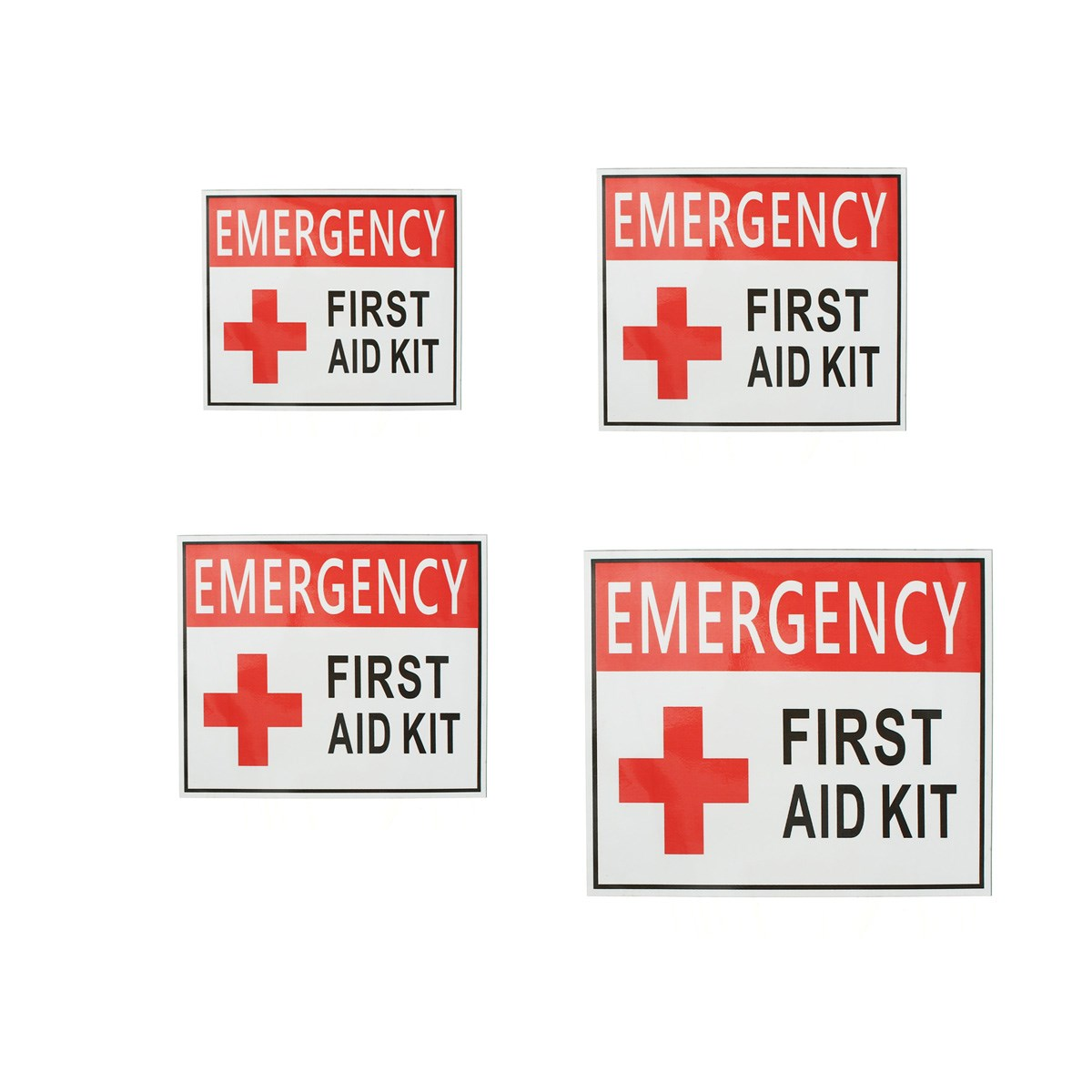 4 Size EMERGENCY FIRST AID Sticker Label Signs Red Cross Health Safety Vinyl White Red 50x63mm 100x125mm 150x175mm 225x275mm signs