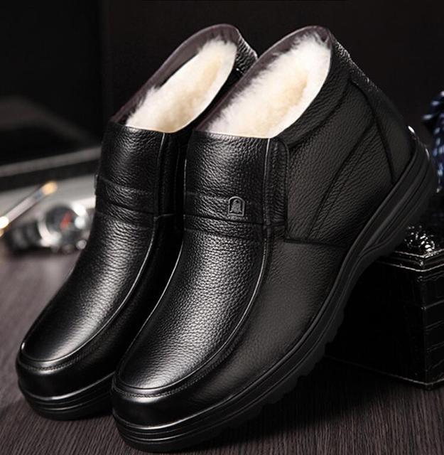 2018 冬のメンズ本革ブーツ高品質厚いウールの男性スーパーウォーム雪のブーツオックスフォード男性ノンスリップ綿の靴ブーツ