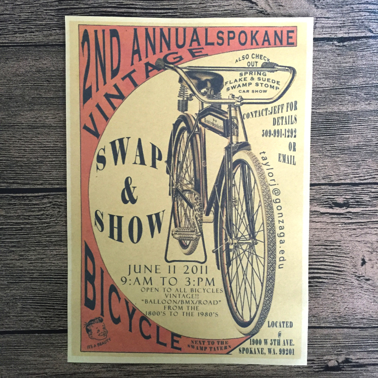 Vintage Old Bike Bicycle Paint Kraft Paper Poster Retro Living Room Wall Art Crafts Sticker Home Decoration 42x30cm ZNP-B025