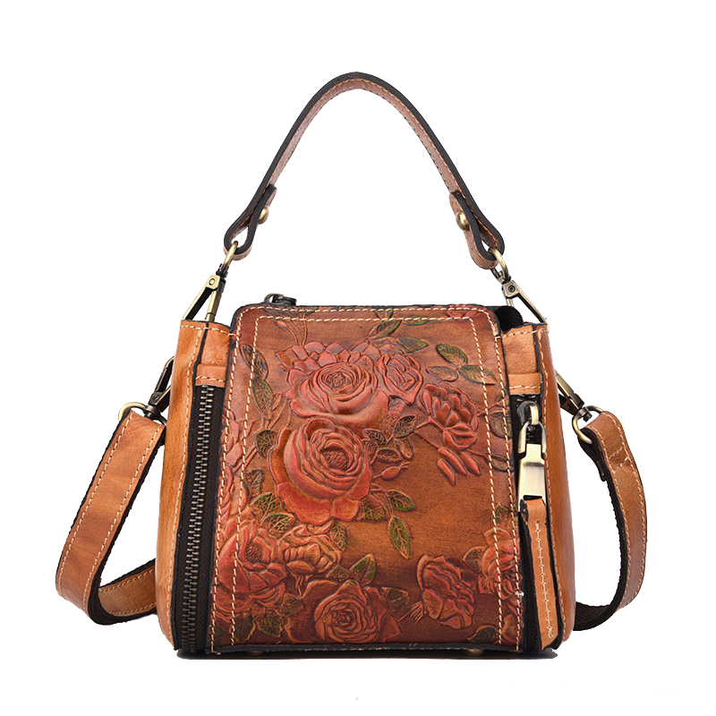 Women's Vintage Brush Color Handbag Genuine Leather Crossbody Shoulder Sling Bag Casual Tote Messenger bag For female LS9068 casual canvas satchel men sling bag