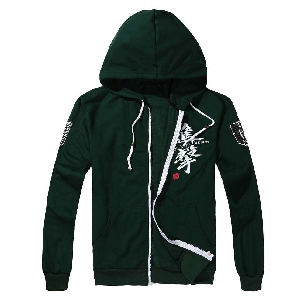Hot Spring Fall Hoodies Adults Anime Attack on Titan Hoodies Sweatshirts Fashion Green Hoody Full Sleeve Hoody for Unisex