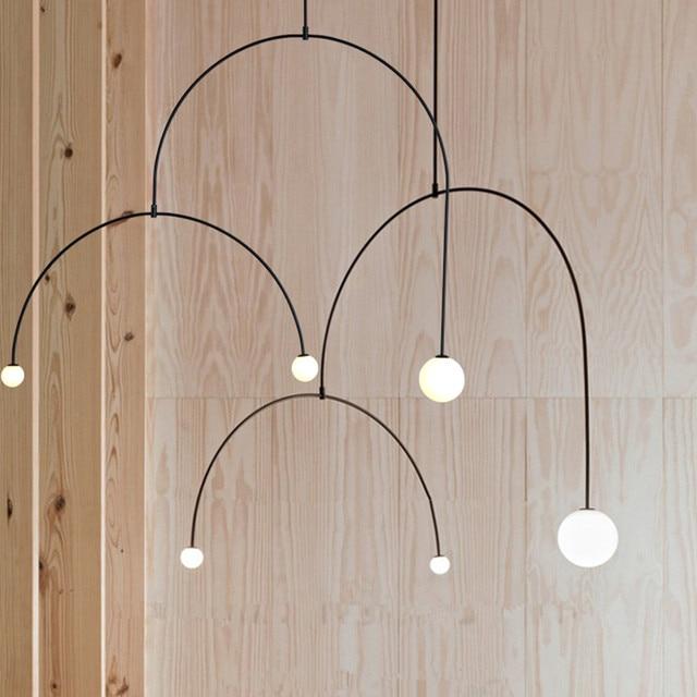 Us 138 45 29 Off Aliexpress Com Buy Modern Black Pendant Lights Metal U Line Pendant Lamps For Living Room Art Led Hanging Lamps Kitchen Fixtures