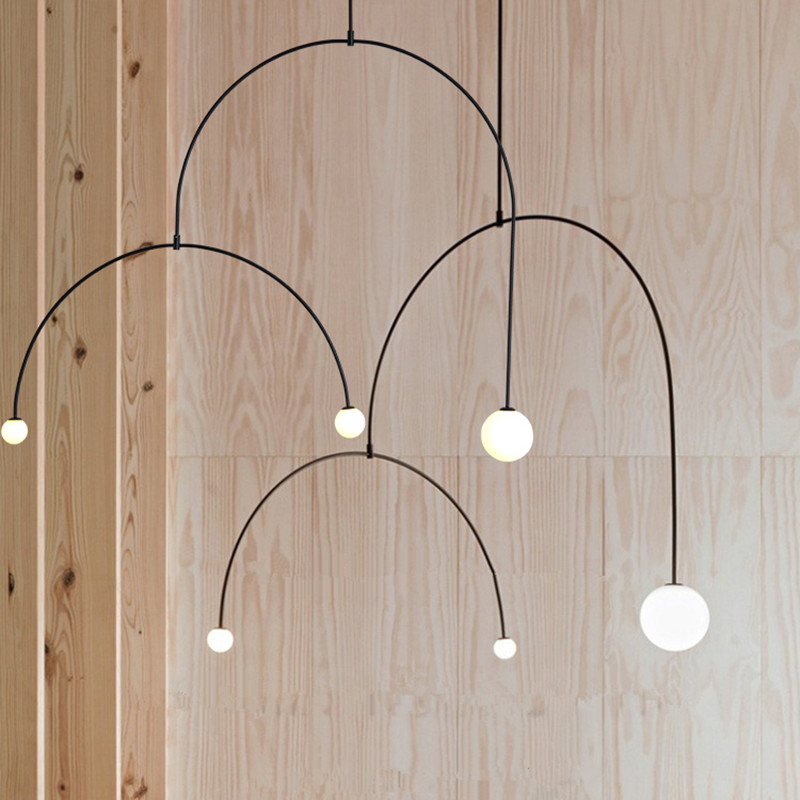 Modern Black Pendant Lights Metal U Line Pendant Lamps for Living Room Art LED Hanging Lamps Kitchen Fixtures Luminiare Lighting