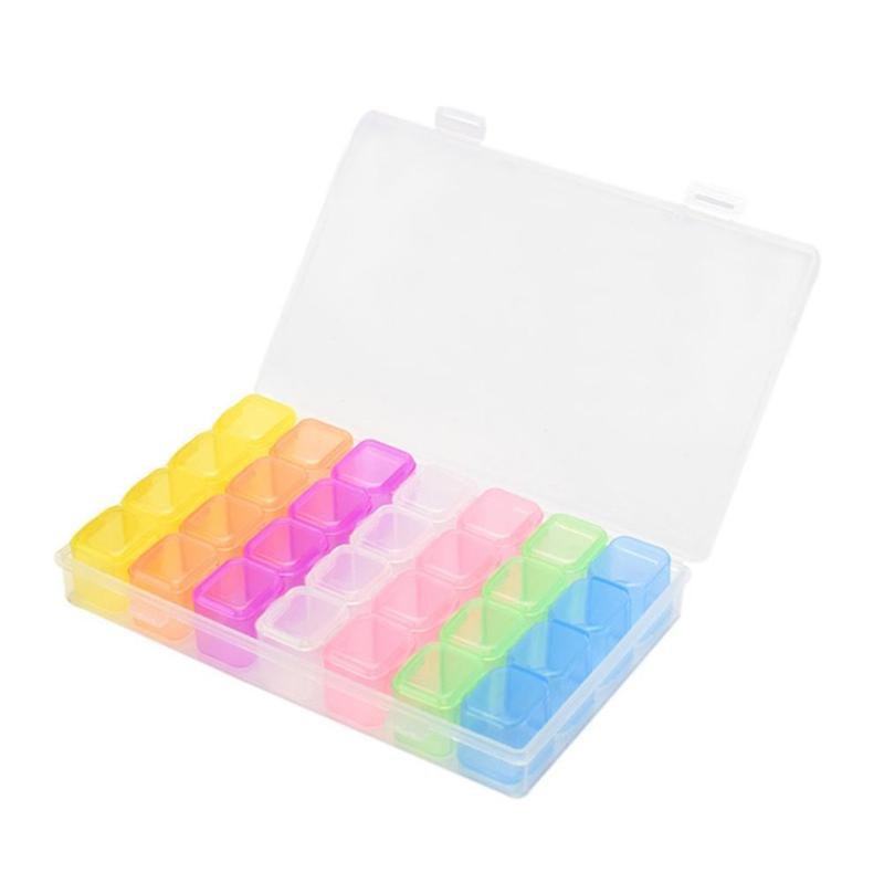 2 Pcs 28 Slots Clear Plastic Storage Box Adjustable Beads Jewelry Box Transparent Pill Tablet Organizer Containers