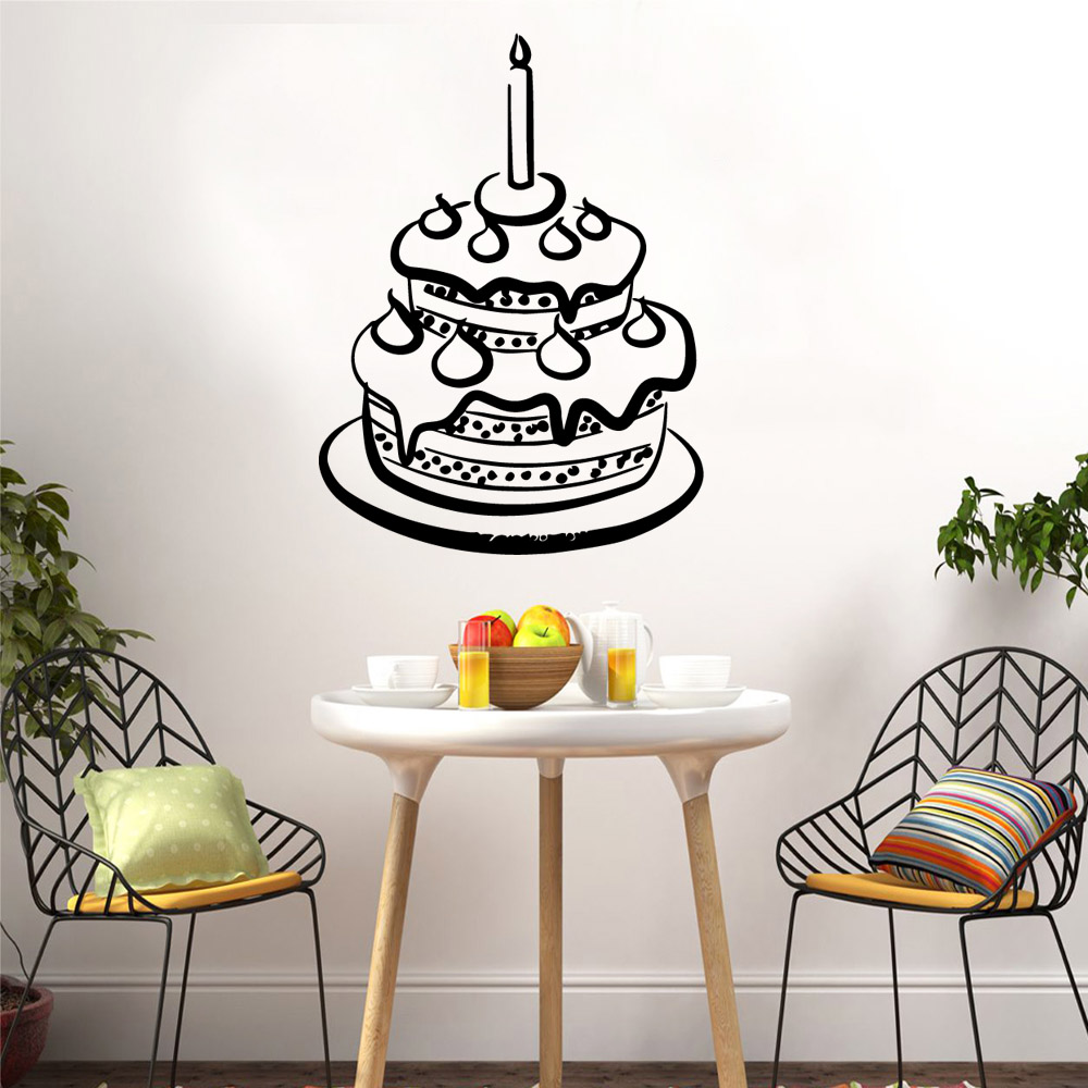 Funny Cake Home Decor Modern Acrylic Decoration Kids Room Nature Decal Creative Stickers