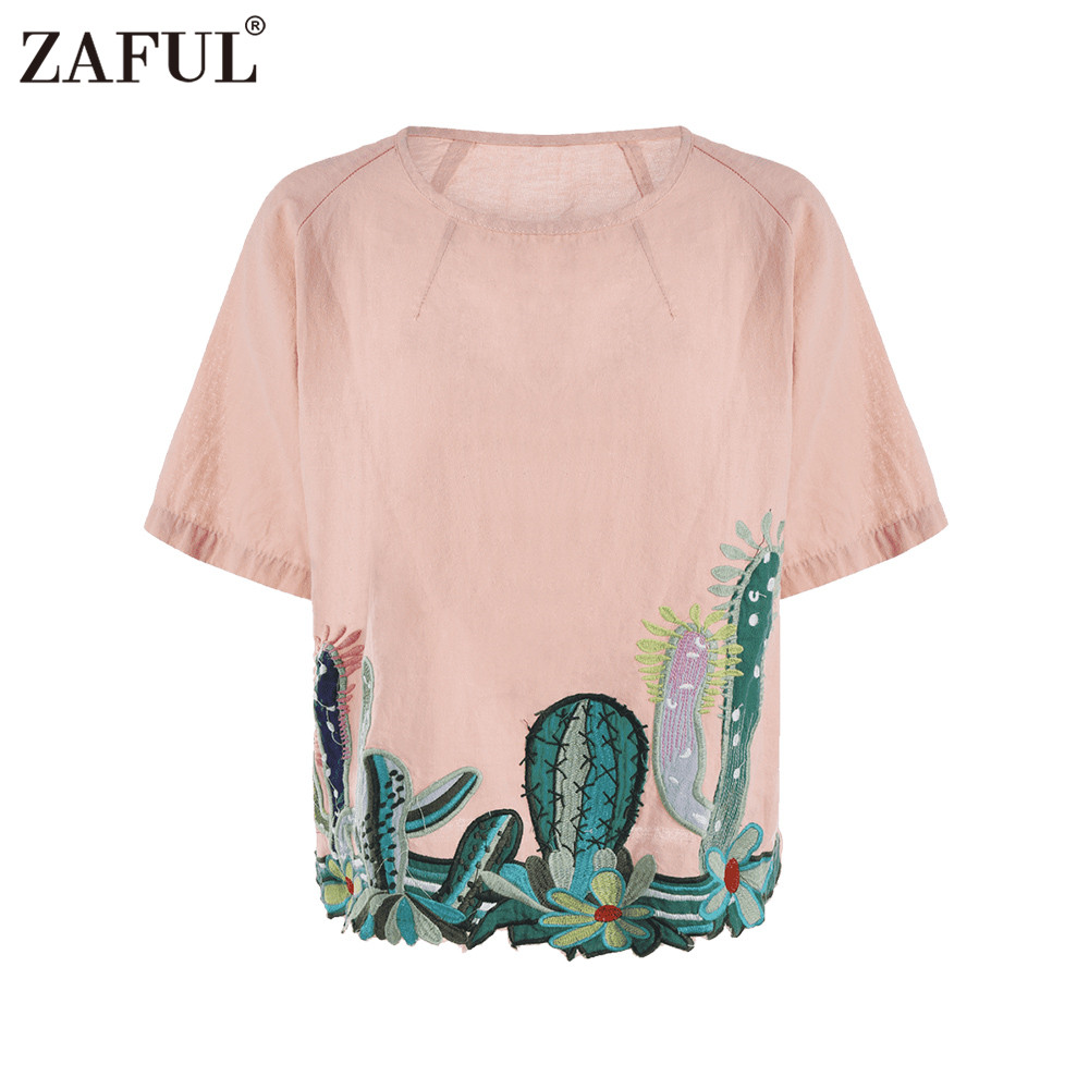 Zaful summer cactus embroiderey blouse women white floral for White floral shirt womens