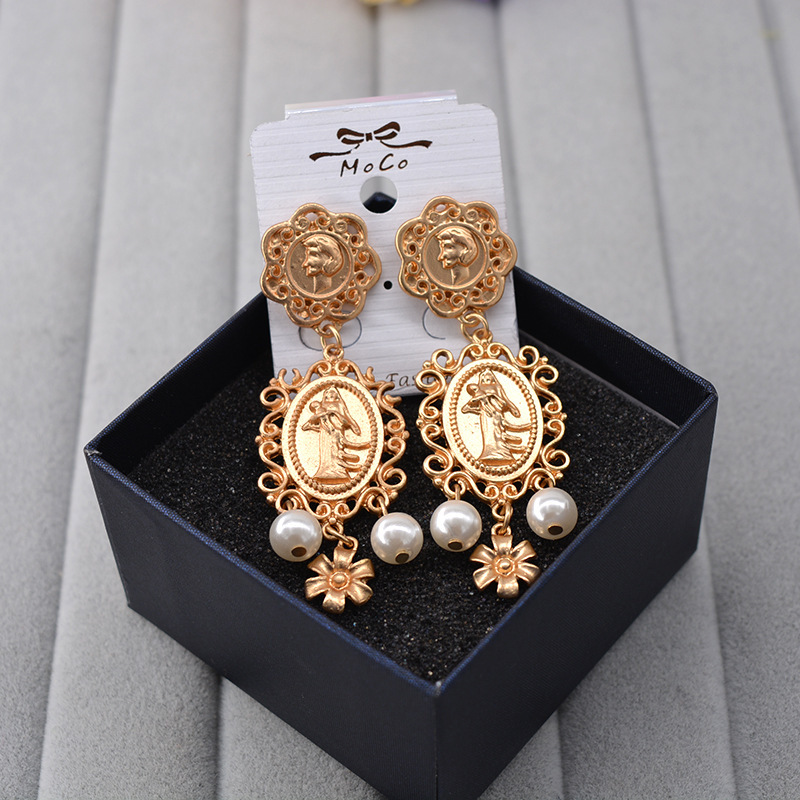 fashion Baroque  head Coin Pearl Flower retro dangle earrings korean jewelry long