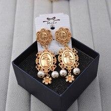 fashion Baroque  head Coin Pearl Flower retro dangle earrings fashion korean fashion  jewelry  long earrings цена