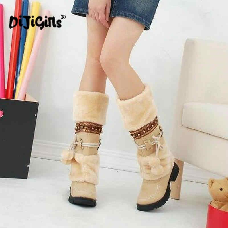 YENI Kış sıcak martin çizmeler Kalınlaşmış Kürk Yüksek Topuk çizmeler kadın ayakkabıları Moda Seksi Uzun kar botları boyutu 35-43 Damla kargo
