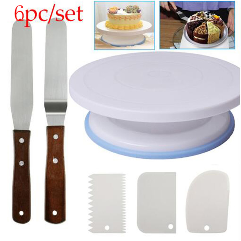 6pcs Set Plastic Cake Turntable Rotating Cake Plastic