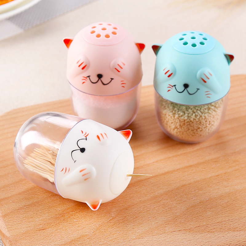 3 colors multipurpose lovely toothpick holder pocket small cats shaped cartoon spice jar - Pocket toothpick holder ...