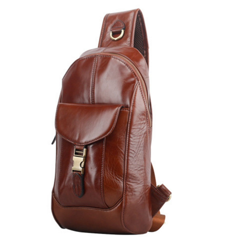 Men High Quality Oil wax Genuine Leather First Layer Cowhide Vintage Riding Sling Chest Bag Leisure Travel Crossbody Pack New 2017 new trend fashion retro oil wax genuine leather men chest pack sling shoulder bag casual travel zipper bags vintage