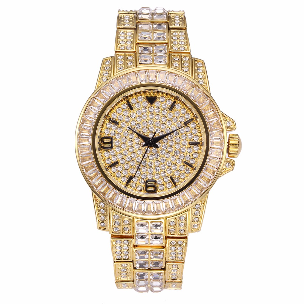 2019 New High Quality Luxury Crystal Diamond Watches Men Gold Watch For Men Steel Strap Analog Wristwatch Rolexable US Drop Ship