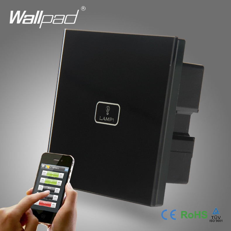 Hot Safe Wifi Remote Wallpad Black Glass Switch Android IOS 1 Gang APP Wireless WIFI Remote Touch Control Sensor Light Switch us wallpad 2 gang crystal glass black touch wifi light switch 118 wireless remote control wall touch light switch free shipping