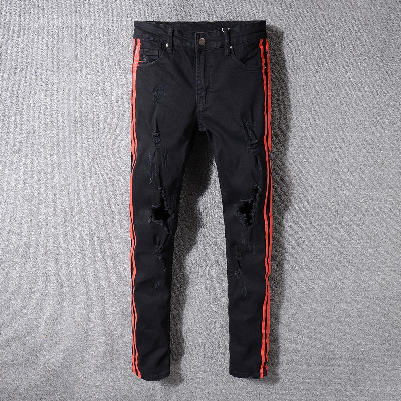 Red Stripe Printed Jeans Men Punk Pants Elastic Skinny Fit Hip Hop Jeans Fashion Youth High Street Ripped Jeans Stretch Trousers men elastic foot drawstring jeans