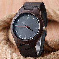 Fashion Nature Wood Wrist Watch Analog Sport Bamboo Black Genuine Leather Band Strap For Men Women